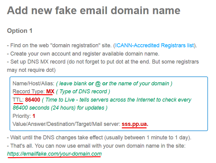 fake email DNS